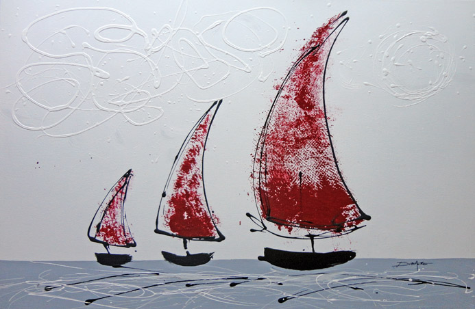acrylic painting modern canvas boat