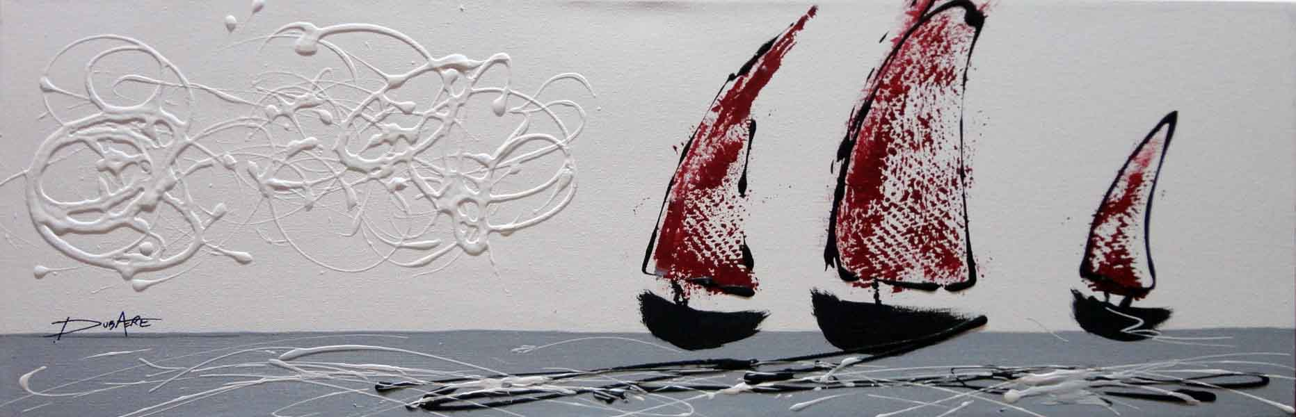 acrylic painting modern canvas boats