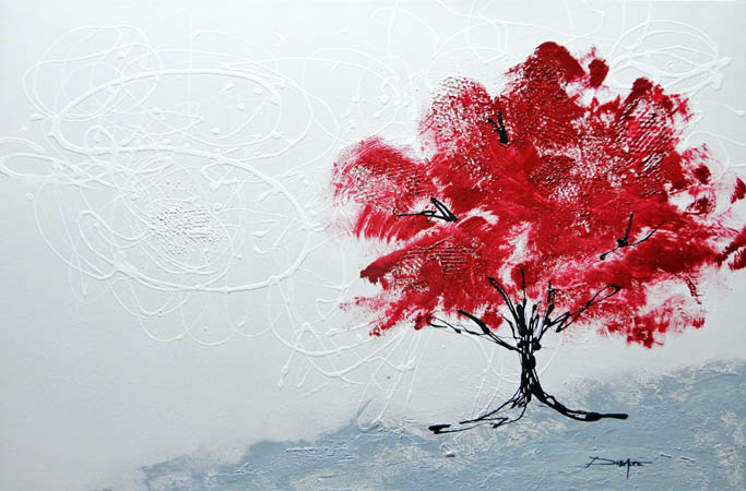 Modern acrylic painting red tree
